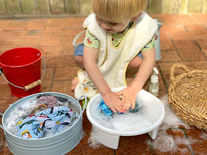 Montessori Toddler Washing clothes at How we Montessori