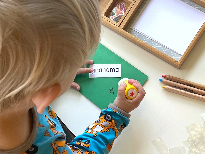 Stamping letters prewriting tray at How we Montessori
