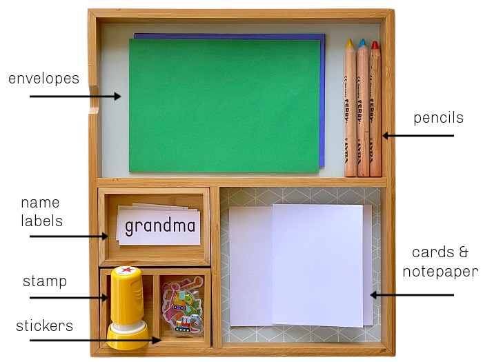 Toddler Letter Writing Tray at How we Montessori two to three years