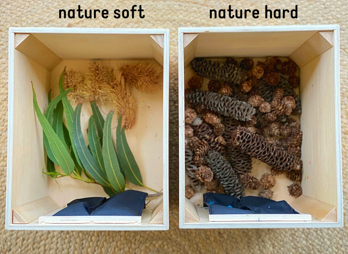 How we Montessori sensory feely box nature soft hard