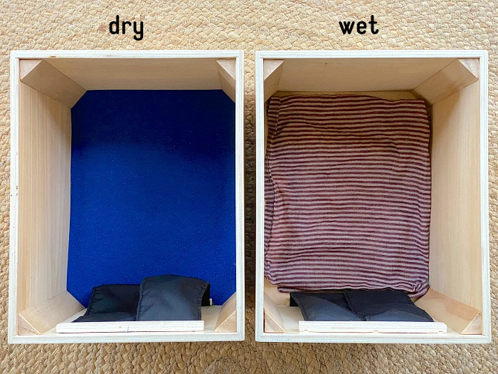 Dry wet feely sensory box at How we Montessori