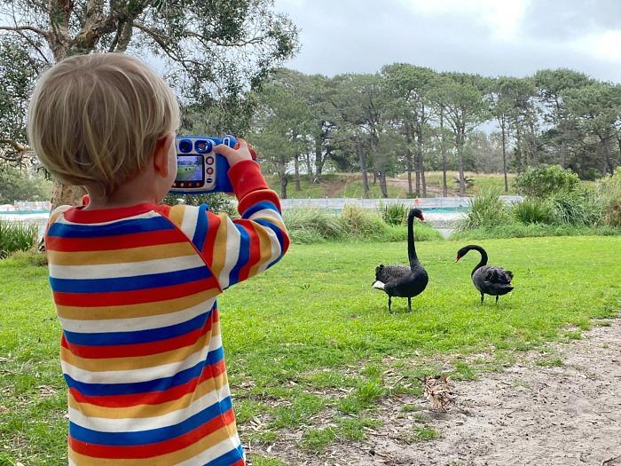 Otto using camera at Three years at How we Montessori