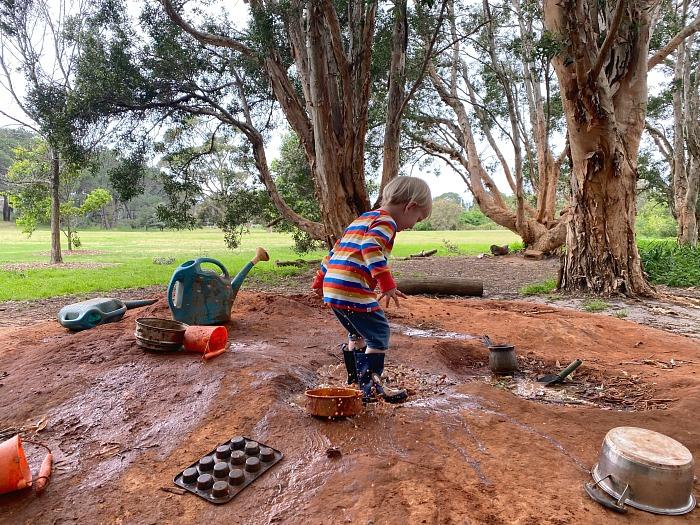 Otto at Bush School  Sydney September 2020 Three Years  mud play