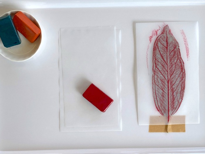 Leaf Rubbing Tray example for a three year old at How we Montessori