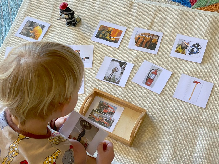 Montessori fire fighter language work at three years Otto at How we Montessori