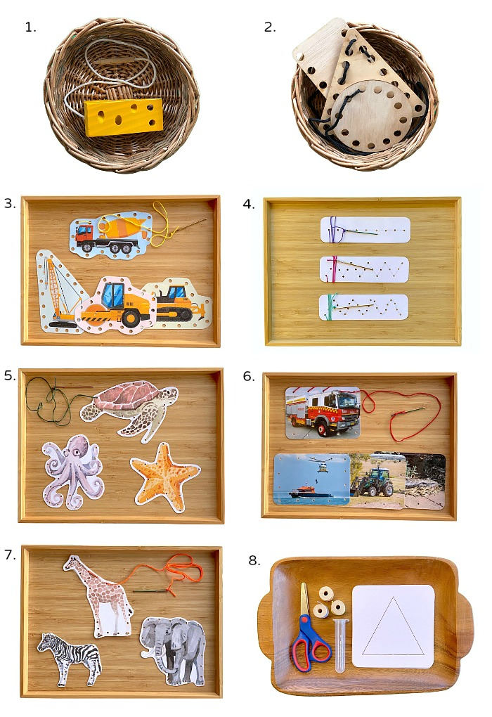 How we Montessori Preliminary Sewing Threading Activties and Sewing Cards Trays Three Year Old