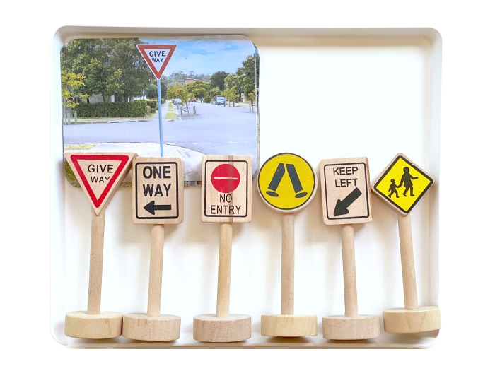 How we Montessori road sign tray with cards