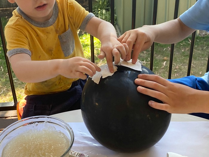 Otis and Otto papier mache with celmix at How we Montessori
