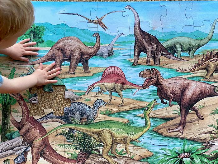 How we Montessori Melissa Doug Dinosaur floor puzzle at three years