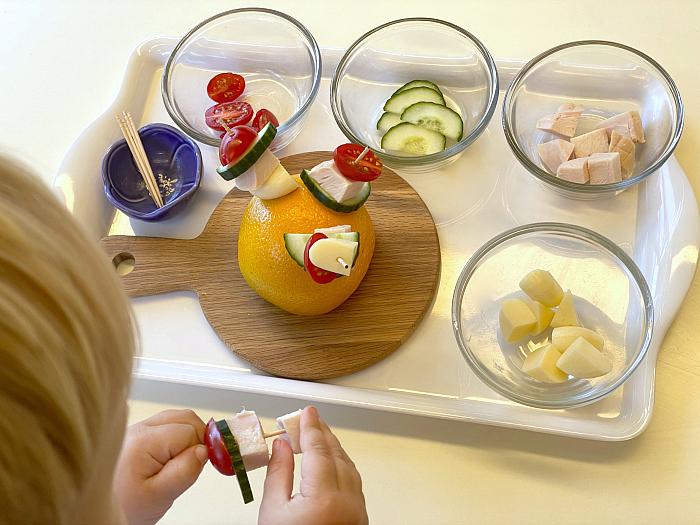 Savory kebab hedghog orange at How we Montessori