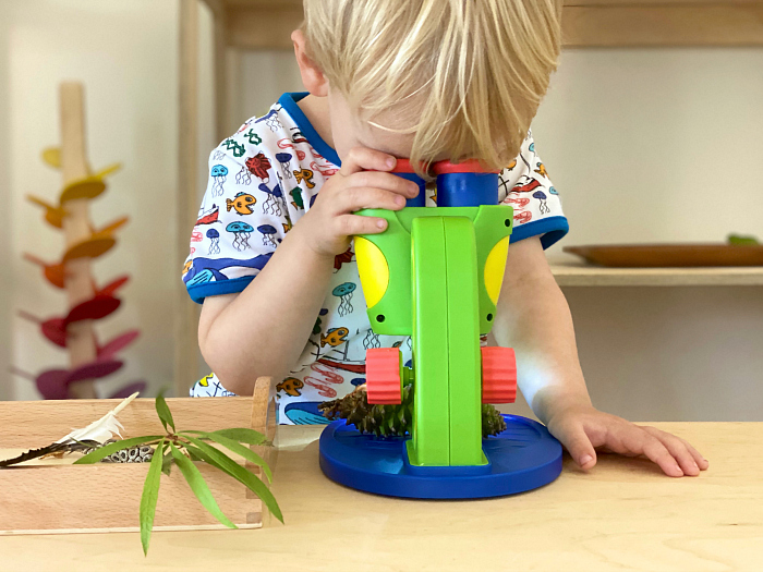 Children's microscope at How we Montessori Otto three years