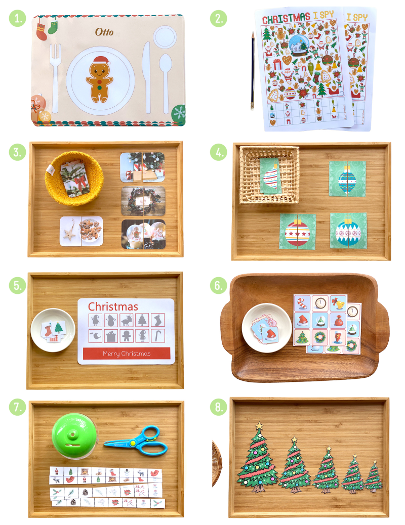 How we Montessori printable download activities at Christmas