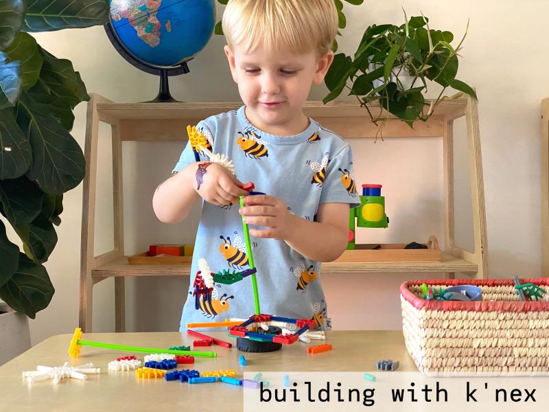 Otto playing KNex at How we Montessori three years