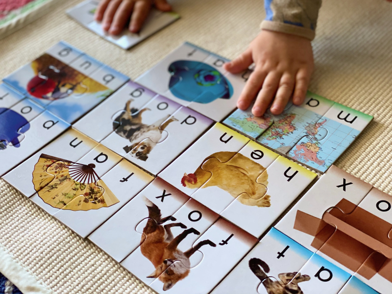 Word puzzles three years old at How we Montessori