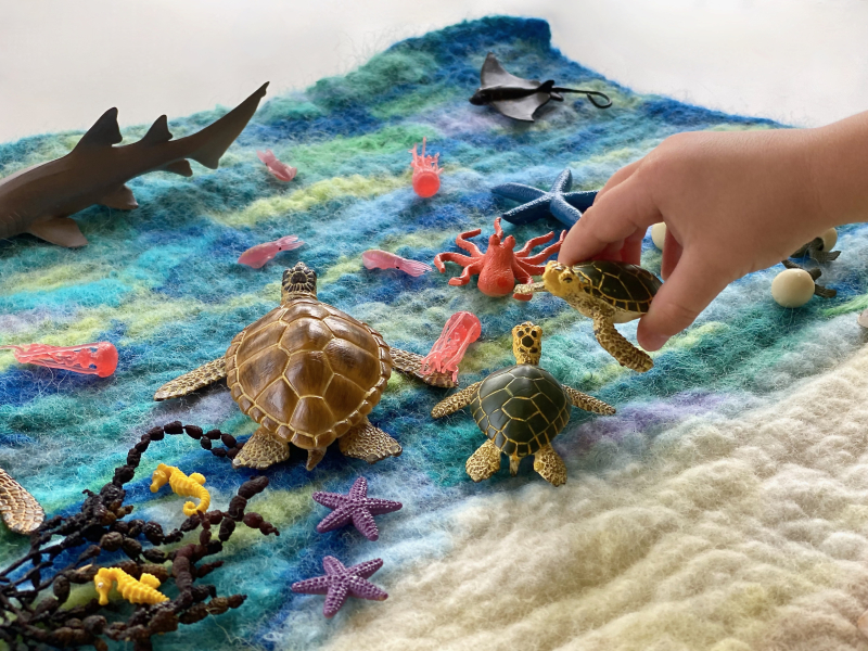 Wet felted wool playmat ocean beach playscape at How we Montessori