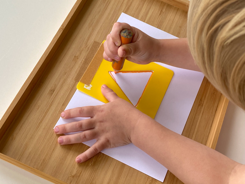 Shape stencils at How we Montessori
