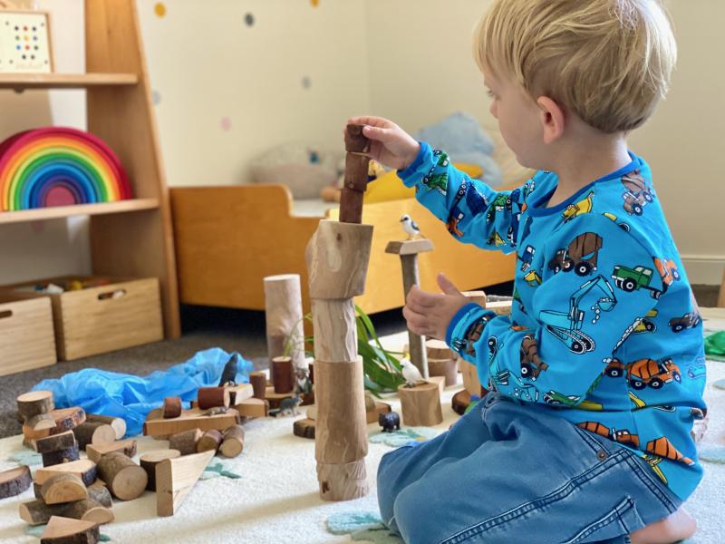 Nature tree branch blocks at How we Montessori