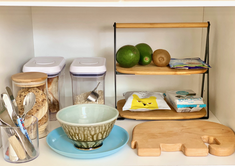 How we Montessori snack kitchen shelves for three year old Sydney 2021 (3)