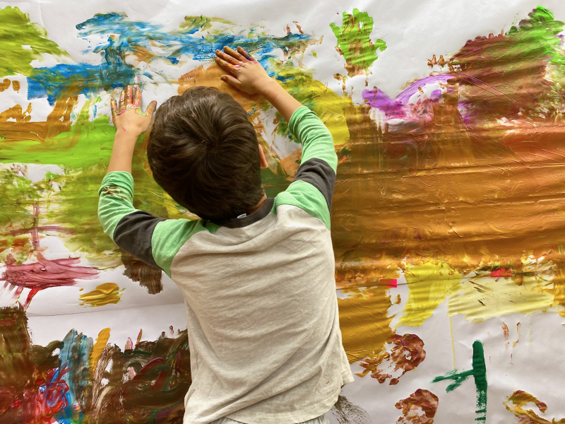 Large wall painting at How we Montessori