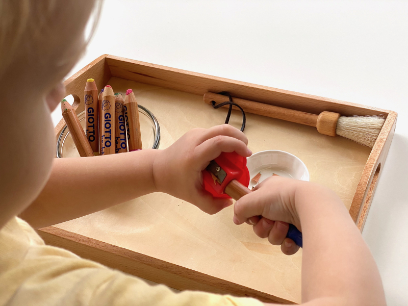 Using a pencil sharpener practical life tray at How we Montessori Otto three years old (1)