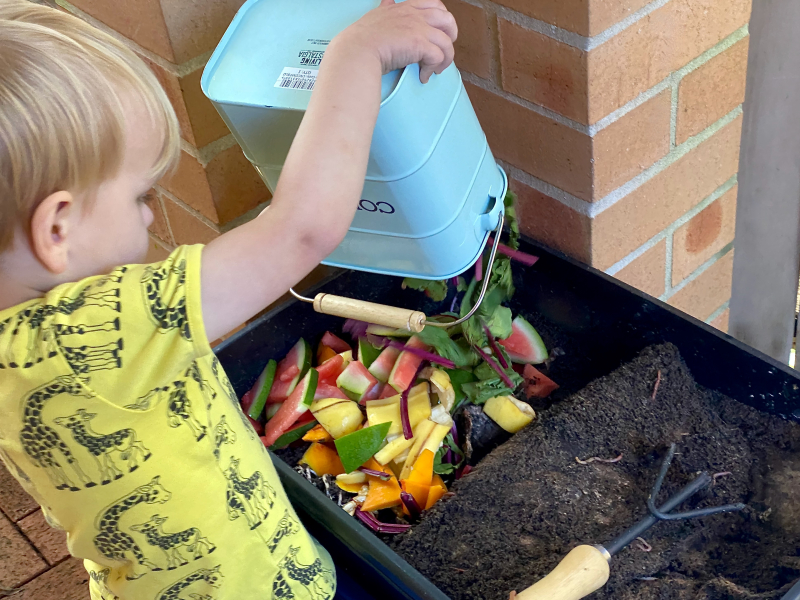 Chores for a three year old at How we Montessori worm farm composting (1)