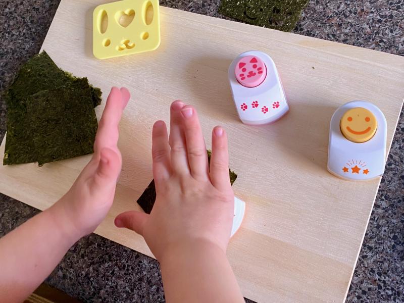Seaweed Nori punch embossing at How we Montessori