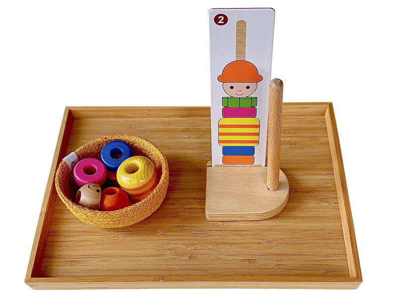 Giant stacker pattern matching game at How we Montessori toy library Australia