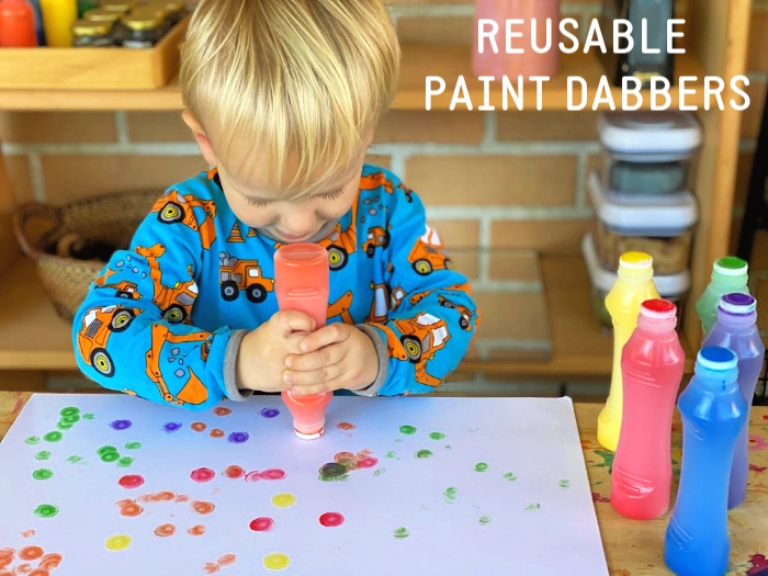 Reusable dabber bottles at How we Montessori toddler dot markers