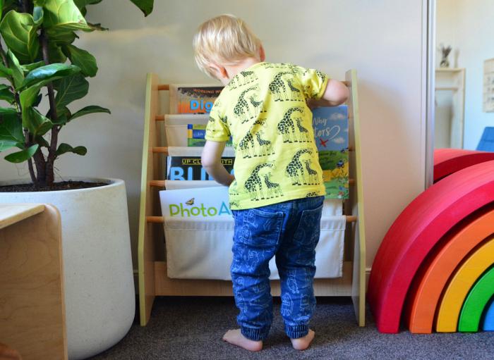 Toddler bookshelf at how we Montessori