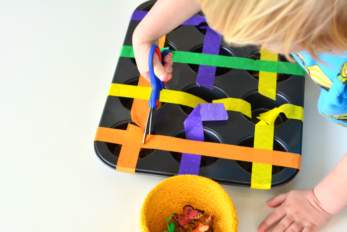 Scissor tray and activity at How we Montessori toddler at two years