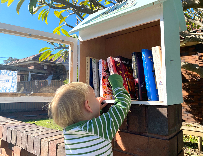 Otto visits street library little free library Sydney at How we Montessori