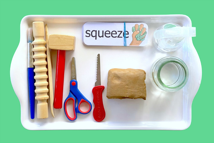 Toddler Clay Tray at How we Montessori