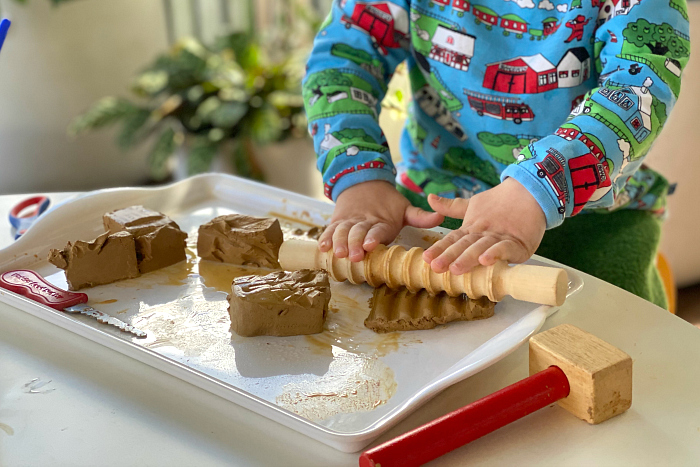 How we Montessori toddler clay tray  two year old rolling clay  wooden clay tools