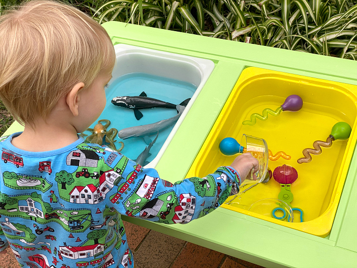Ikea Flisat Sensory Table for Montessori DIY outside play for toddlers