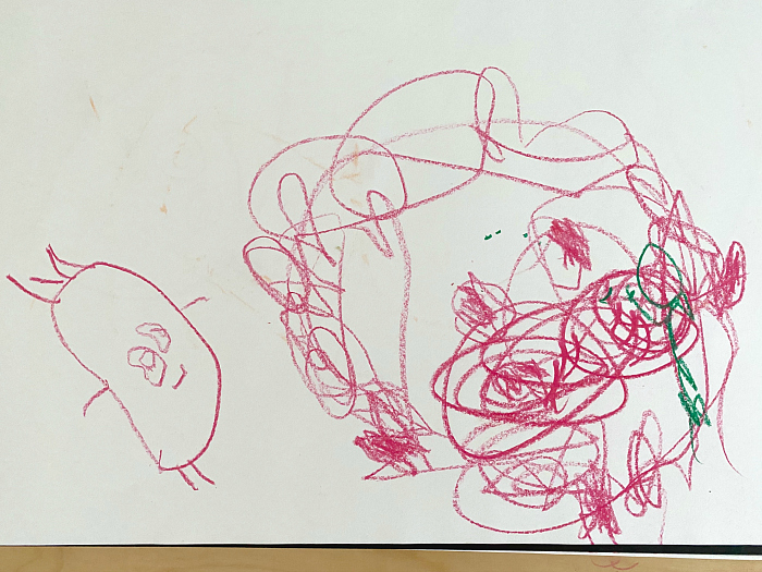 Otto drawing person with scibble at How we Montessori at 34 months Sydney