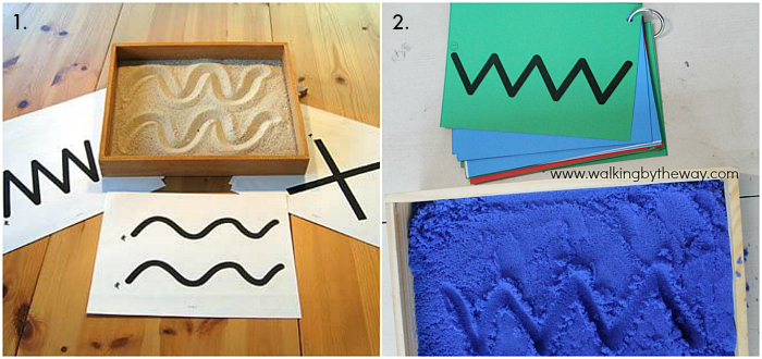 Montessori Prewriting Sand Tray cards at How we Montessori
