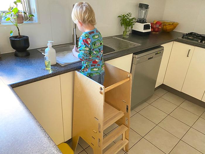 Sprout Kitchen Tower at How we Montessori toddler kitchen alternative