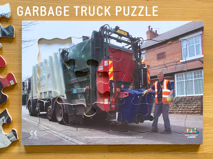 How we Montessori garbage truck toddler puzzle 2020