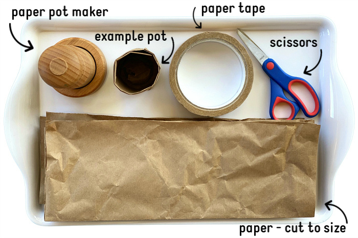 Paper Pot Making Tray at How we Montessori 2020 Sydney