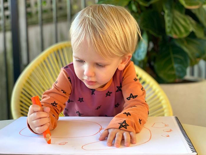 How we Montessori Otto pencil grip at 34 months 2020 Sydney