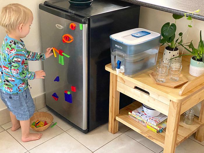 Otto Magnet Shape Play on toddler fridge at How we Montessori kitchen Sydney