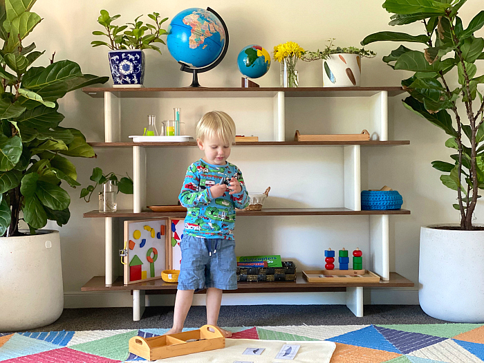 How we Montessori Toddler Work Shelves Otto at 2 years
