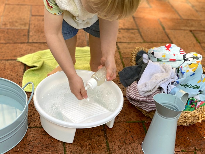 Toddler clothes washing at How we Montessori