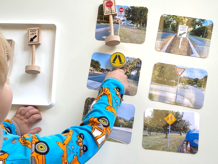 Mathing objects  street signs at How we Montessori