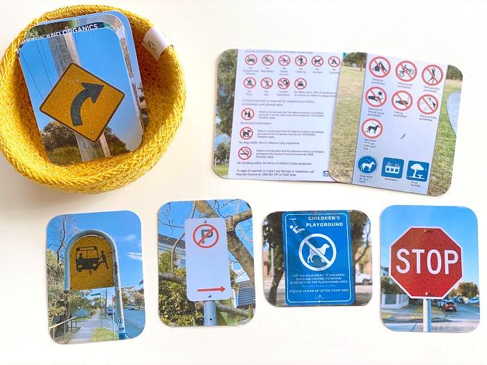 Road sign languge basket at How we Montessori