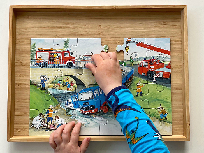 Otto three years Ravensburger puzzle fire rescue at How we Montessori