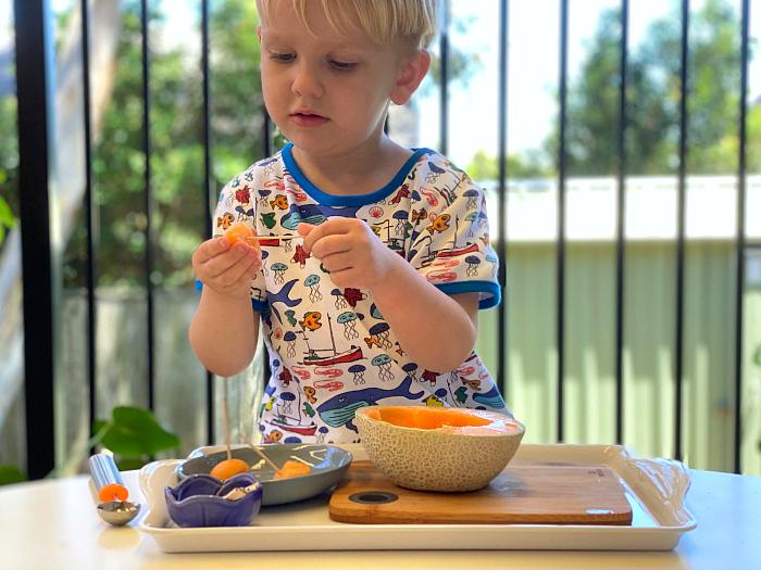 Montessori melon ball tray at How we Montessori