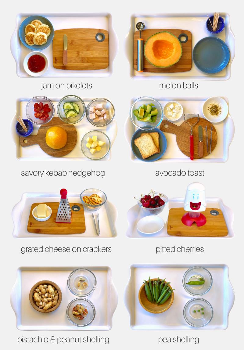 How we Montessori food prep trays snack ideas three year old  (2)