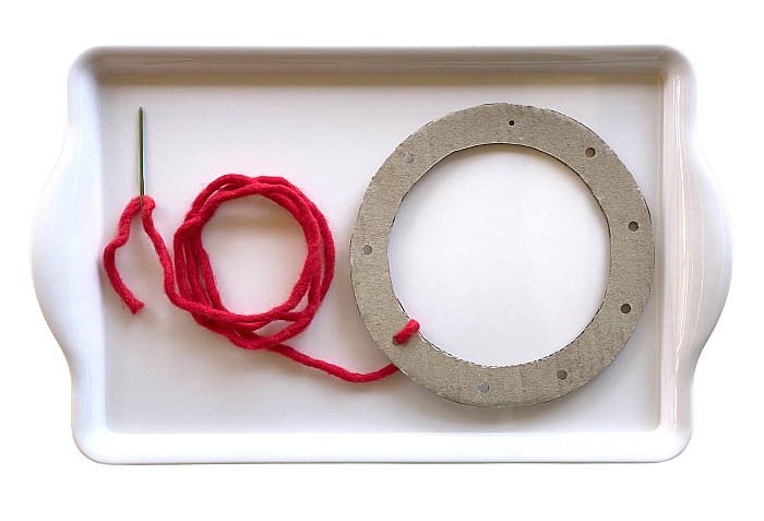 Fine Motor Skill wool craft tray at How we Montessori