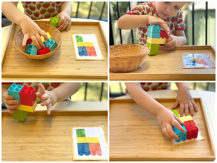 Duplo matching cards at How we Montessori
